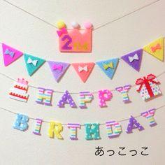 Happy Birthday perler beads banner