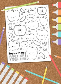 Free Printable Apple Coloring Picture // wild olive // available with or without verse