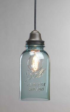 New kitchen sink lighting diy mason jars 46 Ideas Mason Jar Lighting, Mason Jar Lamp, Bottles And Jars, Glass Jars, Tequila Bottles, Kitchen Sink Lighting, Kitchen Lamps, Pot Mason Diy, Diy Lampe