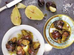 Devils on Horseback- bacon-wrapped prunes stuffed w/wine-soaked pears