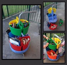 "Outdoor mark making trolley - from Rachel ("",) Playgroup Activities, Forest School Activities, Outside Activities, Kids Outdoor Play, Outdoor Play Areas, Outdoor Learning, Eyfs Classroom, Outdoor Classroom, Classroom Ideas"