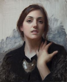 """So excited to be exhibiting in the 2016 BP Portrait Award!  My painting """"Laura In Black"""" goes on view June 23rd at the National Portrait Gallery, London.  We made an instructional video documenting its creation - film is coming soon! #art #bpportraitaward #portrait #painting @art.disciple"""