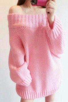 "Pastel pink sweater ♥ // Using ""Brick"" top down knitting pattern Kawaii Fashion, Cute Fashion, Teen Fashion, Korean Fashion, Pastel Fashion, Style Fashion, Mode Outfits, Girl Outfits, Fashion Outfits"