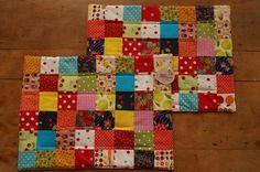 Jogo americano quadradinhos coloridos - Ana Sinhana - costura divertida