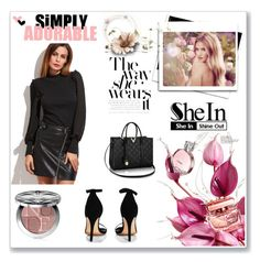 """SheIn Contest - Black Dotted Mesh Bishop Sleeve T-shirt"" by edith-yaris ❤ liked on Polyvore featuring Boohoo, Whiteley, Christian Dior and shein"