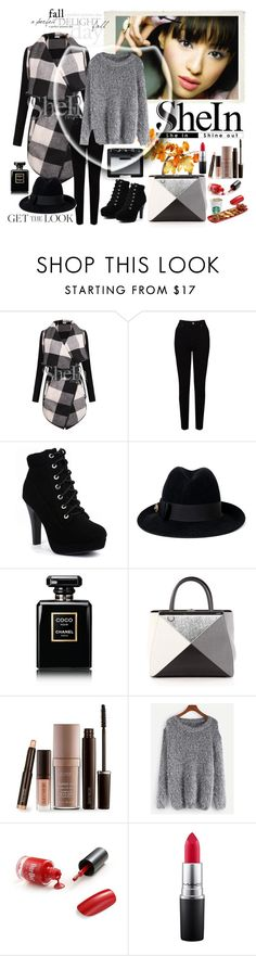 """""""SheIn   -  Grey Sweater"""" by fantasiegirl ❤ liked on Polyvore featuring EAST, Gucci, Chanel, Fendi, Laura Mercier, WithChic, MAC Cosmetics, NARS Cosmetics and Rachael Ray"""