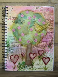Art Journaling - I love spring  I shall do something like this but about AUTUMN