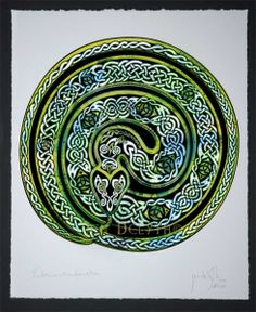 Earth Serpent - Ouroboros Celtic Art Print by Jen Delyth on Wookmark Ouroboros Tattoo, Rainbow Serpent, Celtic Symbols, Celtic Knots, Celtic Mythology, Celtic Tree, Viking Art, Snake Tattoo, Celtic Designs