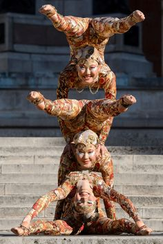 Performers from Cirque du Soleil pose outside the Royal Albert Hall in London to promote their forthcoming show called