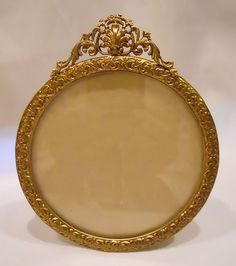 Vintage Ormolu Brass French Style Round Photograph Frame  