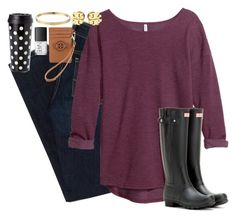 """""""Hunter boots"""" by lauren-hailey ❤ liked on Polyvore featuring American Eagle Outfitters, H&M, Eos, Hunter, Tory Burch, Kate Spade and NARS Cosmetics"""