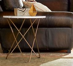 Darcy Marble-Top Accent Side Table