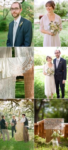 Not typically into long sleeved wedding dresses but this one is so lovely! Cute couple with cute wedding.