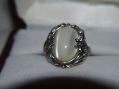 RING SZ 5 STONE MOTHER PEARL STONE SILVER FLOWER DESIGN RINGS MADE IN USA RING our store link http://stores.ebay.com/store4angels?refid=store come see our store front always have great sales