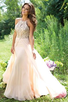2015 Spaghetti Straps Beaded Bodice A-Line Chiffon Prom Dresses
