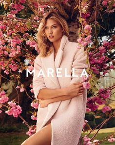 Karlie Kloss For Marella F/W 2015 // pink textured coat #style #fashion #ad #campaign