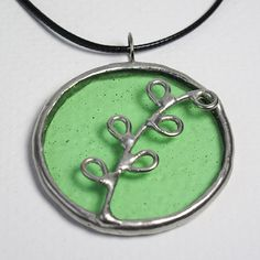 Spring Green - Stained Glass Pendant with Black Cord by faerieglass