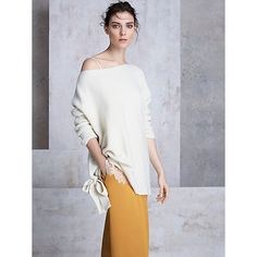 Buy Modern Rarity Cashmere Tie Side Jumper, Cream, S from our Women's Knitwear range at John Lewis & Partners. Cashmere Yarn, Rarity, New Model, John Lewis, Jumper, Cold Shoulder Dress, Bell Sleeve Top, Vogue, Tie