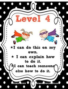Formative Assessment 4 Levels- Assess Yourself Rubric Posters {Super Hero Kids} - Miss Nannini - TeachersPayTeachers.com