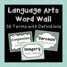 Language Arts Word Wall. 58 Terms with Definitions. In Black and White for Easy Printing!