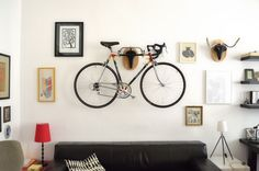 Bike Taxidermy Vienna-based designer Andreas Scheiger creates faux taxidermy using bicycle seats and handlebars. Most certainly an idea worth stealing - forget the art part, it's a clever bike/wall...