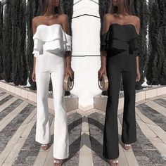Stylish Solid Ruffled Off Shoulder Jumpsuit Casual Bar Outfits, Classy Outfits, Cute Outfits, Night Out Outfit, Night Outfits, Summer Outfits, Look Fashion, Fashion Outfits, Womens Fashion