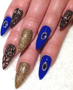 Blue, Gold & Nude with some handpainted black lace