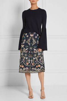 Needle & Thread | Embellished georgette skirt | NET-A-PORTER.COM