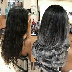 19 Ideas For Hair Color Miel Products Gray Hair Highlights, Hair Color Balayage, Ombre Hair, Dark Hair, Blue Hair, Brown Hair, Biolage Hair, Pinterest Hair, Hair Transformation