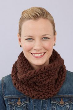 Loom Knit Ridged Cowl This double knit hat is knit with the Martha Stewart Crafts Lion Brand Yarn Knit & Weave Loom Kit.
