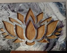 Lotus Flower Carved in Acrylic Pour Painting