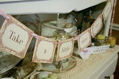 Tea Time Banner Garland Tea Party Decoration by seasonaldelights