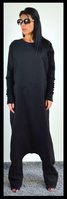 Loose black jumpsuit Wool soft romper Black by ClothesByLockerRoom