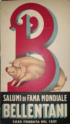 cartoncino pubblicitario suino salume Modena bellentani pig cochon