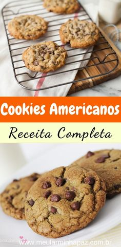 Simple Chocolate Chip Cookie Recipe – Here's how to make the traditional American cookie, crispy on the outside and soft on the inside! Delicious and practical recipe, check out Easy Chocolate Chip Cookies, Brownie Cookies, Homemade Chocolate, Delicious Chocolate, Cupcake Recipes, Cookie Recipes, Snack Recipes, Snacks, Fish Recipes