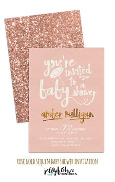 Rose Gold Baby Shower Invitation - Customized for You! DIY Printable or Printed. Blush Pink Gold Sequins Sparkle by JellyfishPrintables on Etsy