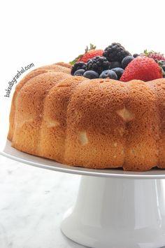 Light and airy angel food bundt cake recipe from @bakedbyrachel