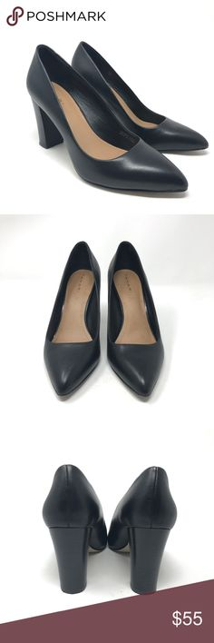 Tahari Ava Pointed Toe Pumps Sz 7.5 black leather Tahari AVA Pointed Toe Pump Women's Size 7.5 Career Block Heels Black Leather   Size: 7.5 M Color: Black Leather Style Name/Number: AVA RTP:$ 98  In excellent preowned condition with no known flaws and light overall wear. Tahari Shoes Heels