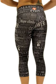 Angel del Mar Motivation Workout Capris Black - Back view - Not only comfortable they will keep you pushing through your toughest workout with motivational words of encouragement. Workout Capris, Workout Gear, No Equipment Workout, Workout Leggings, Wod Gear, Crossfit Clothes, Workout Clothing, Back To Black, Fitness Motivation