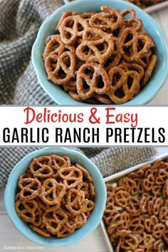 My kids love these baked garlic ranch pretzels. These are easy to make and are perfect for your next party, holiday or an afternoon snack for your family. Make these delicious pretzels for your next holiday party! Quick Appetizers, Quick Snacks, Yummy Snacks, Appetizer Recipes, Yummy Food, Healthy Bedtime Snacks, Healthy Afternoon Snacks, Healthy Snacks For Kids, Snack Mix Recipes