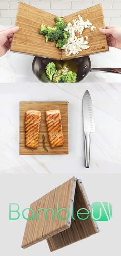 Try the Bambleu cutting board! It's is a 4-in-1 folding design that is great for compact storage, easy pouring into pans, crushing of garlic/shallots, easy peeling all while offering the user the flexibility to use a small or large cutting board with one simple fold.  Read Full Story at Yanko Design
