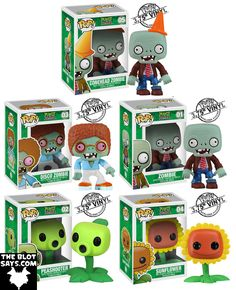 Plants vs. Zombies Pop! Vinyl Figures - Conehead Zombie, Disco Zombie, Zombie, Peashooter  Sunflower