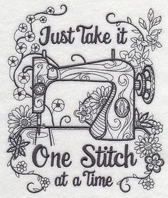 Blackwork-Sewing-machine-color-it-yourself-embroidered-fabric-quilt-block