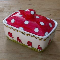 Hand Painted Fine Bone China Butter Dish Red and by scattyartist, $40.00