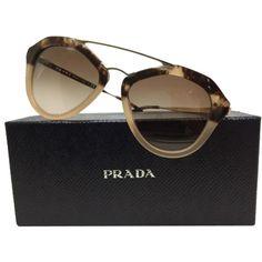 Pre-owned Prada Sunglasses ($274) ❤ liked on Polyvore featuring accessories, eyewear, sunglasses, nude with havana fade, brown gradient sunglasses, prada sunglasses, prada, nude sunglasses and prada glasses