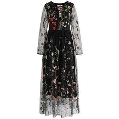 Chicwish Lost in Flowering Fields Embroidered Mesh Maxi Dress in Black (3.955 RUB) ❤ liked on Polyvore featuring dresses, black, embroidered maxi dress, floral embroidered dress, multi colored maxi dresses, floral maxi dress and embroidery dresses