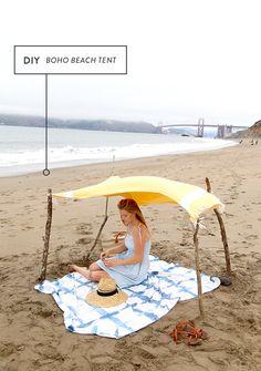 boho beach tent - for the girls :) Beach Play, Beach Tent, Beach Umbrella, Beach Picnic, Beach Camping, Tent Camping, Camping Ideas, Strand Camping, Packing List Beach