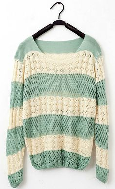 Loose-Fitting Knit Striped Sweater