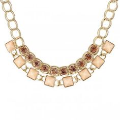 Fashion New Bijoux Gold Color Alloy Chain Pink Rhinestone Choker Necklace For Women