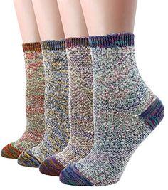 LITTONE Women's Cotton Vintage Design Knitted Soft Crew Socks